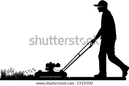 vector silhouette graphic depicting a man doing yard-work