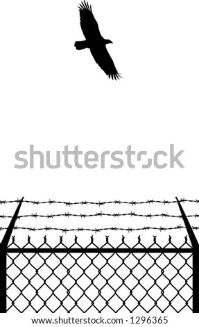 vector silhouette graphic depicting a prison fence with an soaring eagle (black and white)