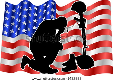 vector silhouette graphic depicting a soldier kneeling at a memorial to fallen comrade with American flag background