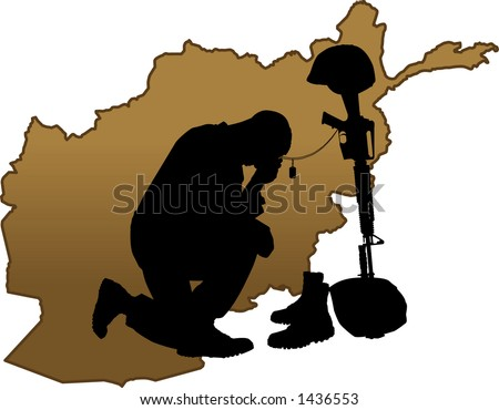vector silhouette graphic depicting a soldier kneeling at a memorial to fallen comrade with map of Afghanistan background