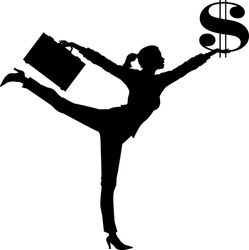 vector silhouette graphic depicting a woman holding a dollar symbol (concept: higher salary)