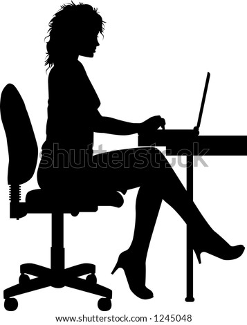 vector silhouette graphic depicting a woman typing at a laptop