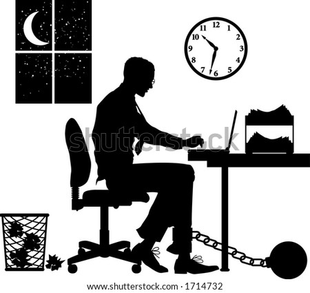 Vector silhouette graphic depicting concept: overworked