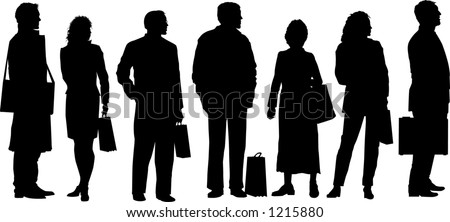 vector silhouette graphic depicting people waiting at a transit stop