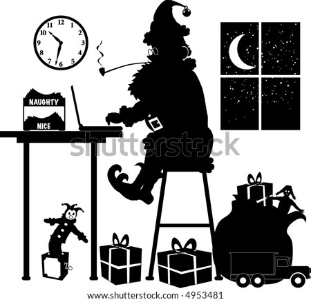 vector silhouette graphic depicting Santa Claus, at his laptop, making a list