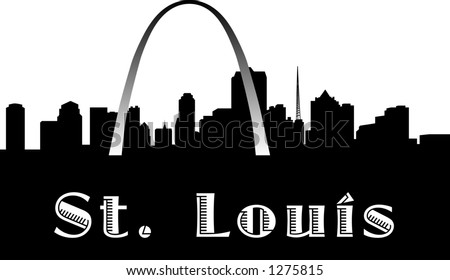 vector silhouette graphic depicting the St. Louis skyline (black and white)