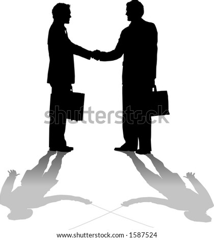 vector silhouette graphic depicting two businessmen shaking hands (concept: competition) - stock vector