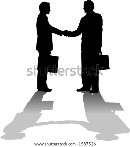 vector silhouette graphic depicting two businessmen shaking hands (concept: making a deal)