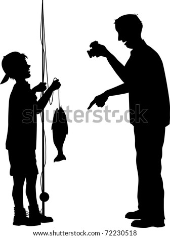 vector silhouette graphic illustration depicting a father photographing his son