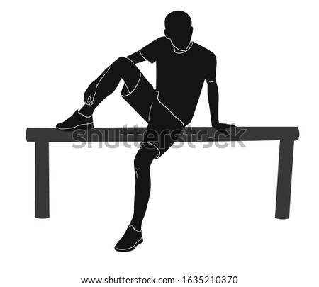 Vector silhouette, guy sits on a log.