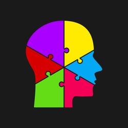 Vector silhouette head puzzle six pieces, steps, parts. Business infographic concept. Info symbol education, knowledge, psychology, memory, logic. Template design puzzles element. Puzzle infographic.