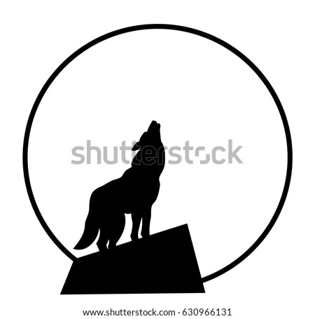 vector silhouette howling at