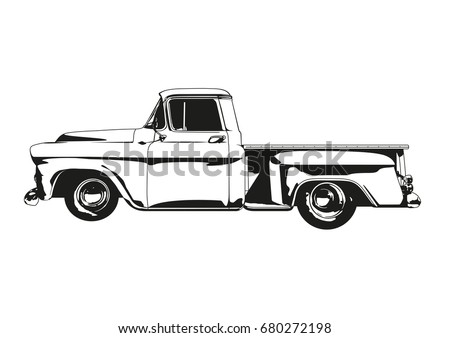 Vector silhouette illustration of 1959 Vintage Hot Rod Pickup Truck