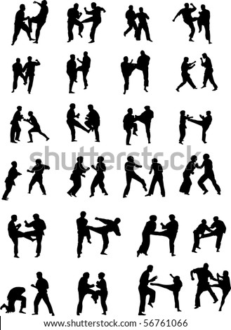 Vector Silhouette Images of Martial Art Fighters