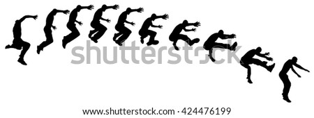 vector silhouette jumping man