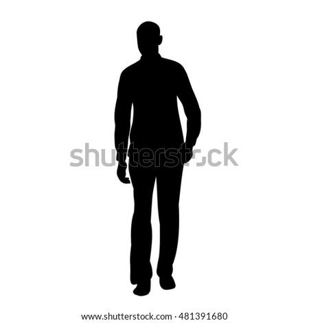 vector, silhouette man walking