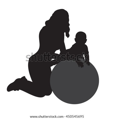 vector silhouette mother sports