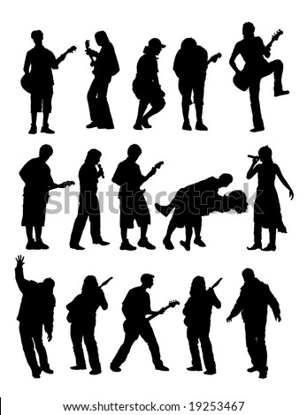 vector silhouette musician with guitar and singer.