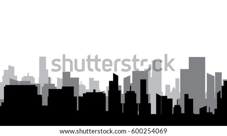 Vector silhouette of a big gray city.