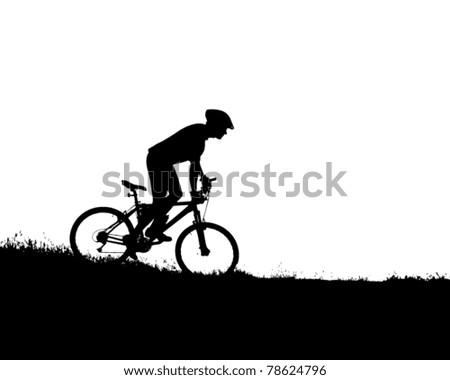 vector silhouette of a biker