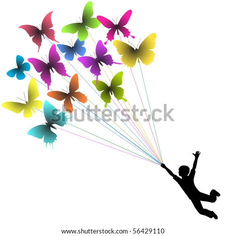 Vector silhouette of a boy carried by flying butterflies