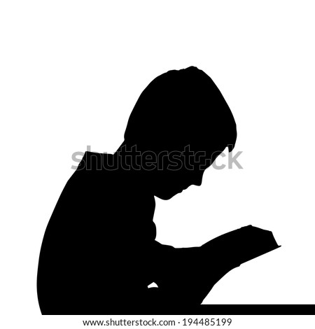 Vector silhouette of a boy's head on a white background. #194485199