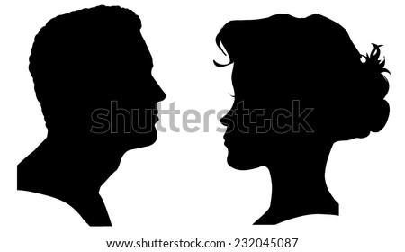 vector silhouette of a couple on a white background
