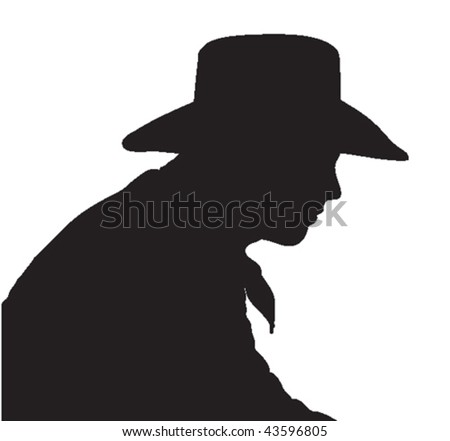 Vector silhouette of a cowboy, head and shoulders, wearing a hat.