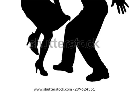vector silhouette of a dancing