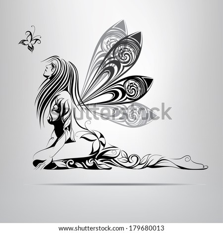 vector silhouette of a fairy