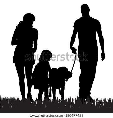 vector silhouette of a family