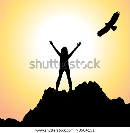 vector silhouette of a girl with raised hands on top of the mountain and flying bird