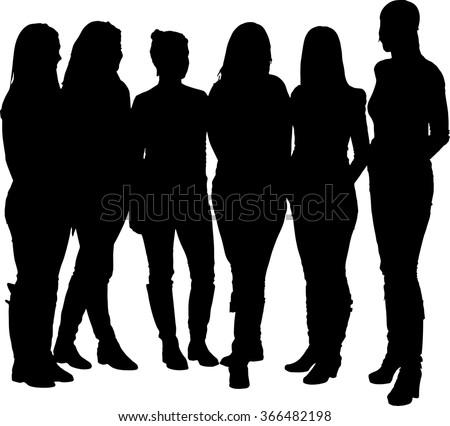 vector silhouette of a group of