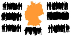 Vector silhouette of a group of refugees, migration crisis in Europe. War migration waves going through Schengen Area. Germany country vector map background.