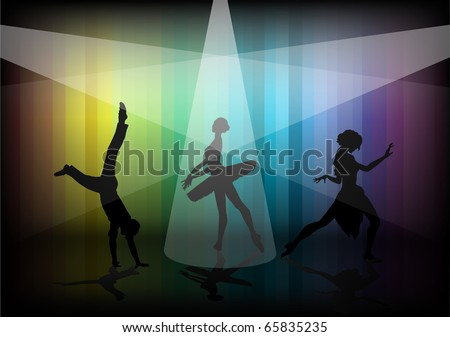 vector silhouette of a happy man dancing,  ballerina and woman dances tango