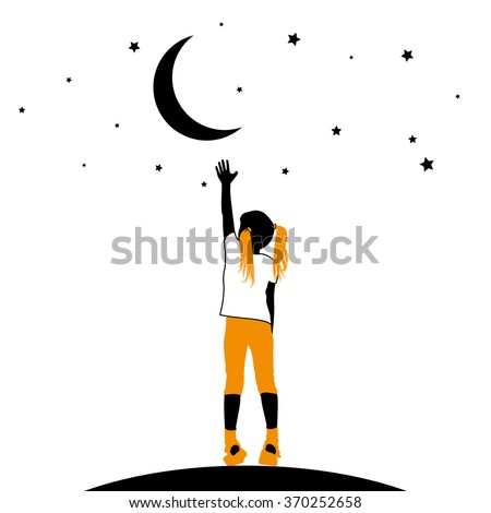 vector silhouette of a little