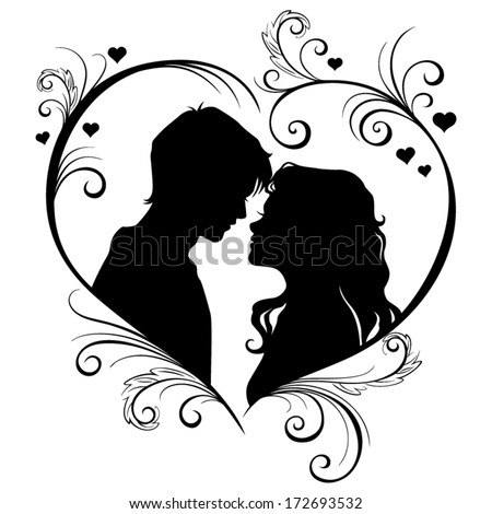 vector silhouette of a loving