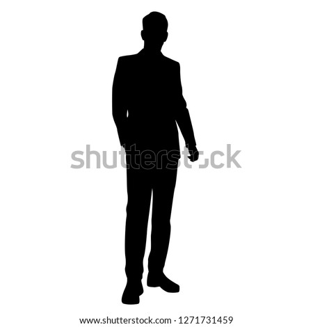 Vector silhouette of a man in a business suit standing, black color isolated on white background #1271731459