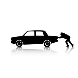 Vector silhouette of a man pushing a broken car