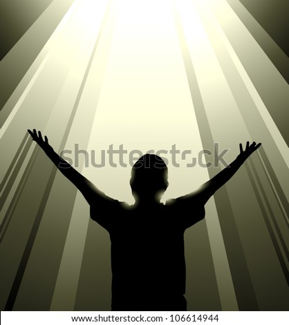 Vector silhouette of a man reaching up toward a column of light from above, possibly symbolizing salvation or some transcendent experience. - stock vector