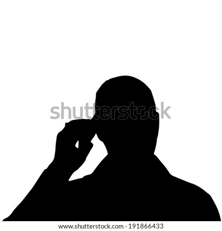 Vector silhouette of a man's head on a white background. #191866433
