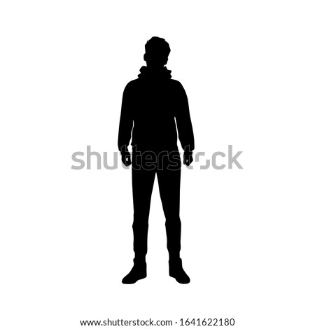 Vector silhouette of a man standing, black color, isolated on a white background