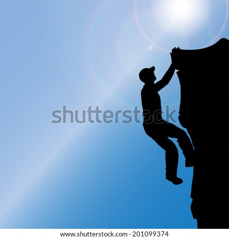 Vector silhouette of a man who climbs rocks. #201099374