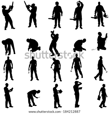 Vector silhouette of a people working with tools on a white background