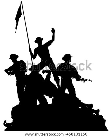 vector silhouette of a platoon