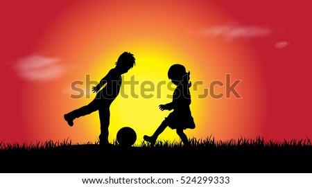 vector silhouette of a siblings