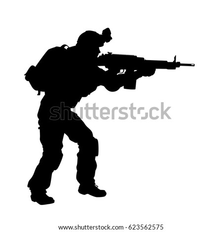 vector silhouette of a soldier