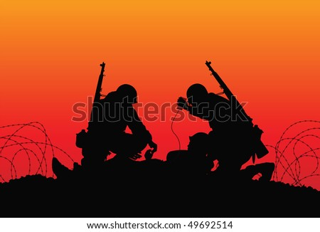 Vector silhouette of a soldier with medics