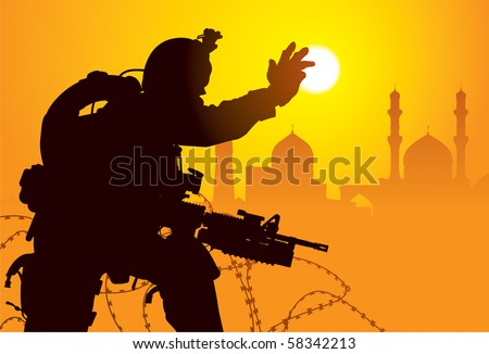 Vector silhouette of a soldier with mosques on the background