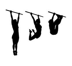 vector silhouette of a sporty girl doing leg swings on a horizontal bar